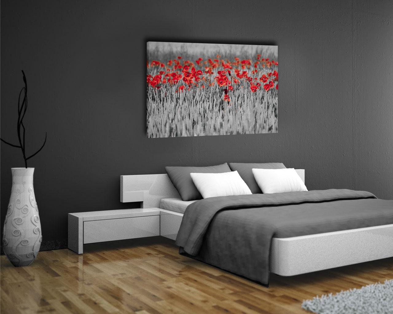 Campo di papaveri rossi fiori stampa su tela - Fiori in camera da letto ...