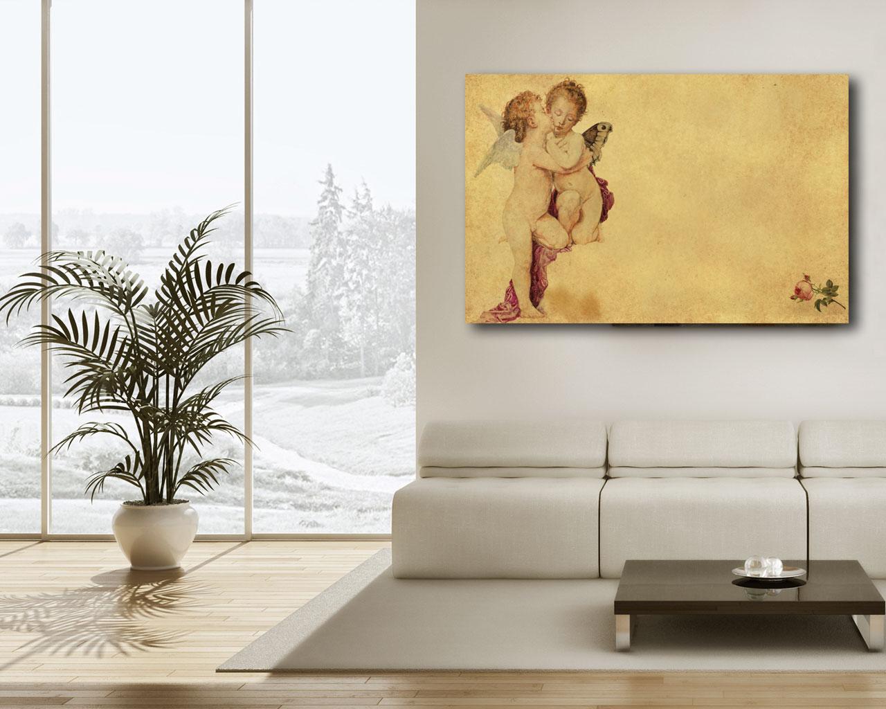 Innocente bacio di angeli arte stampa su tela for Quadri con angeli
