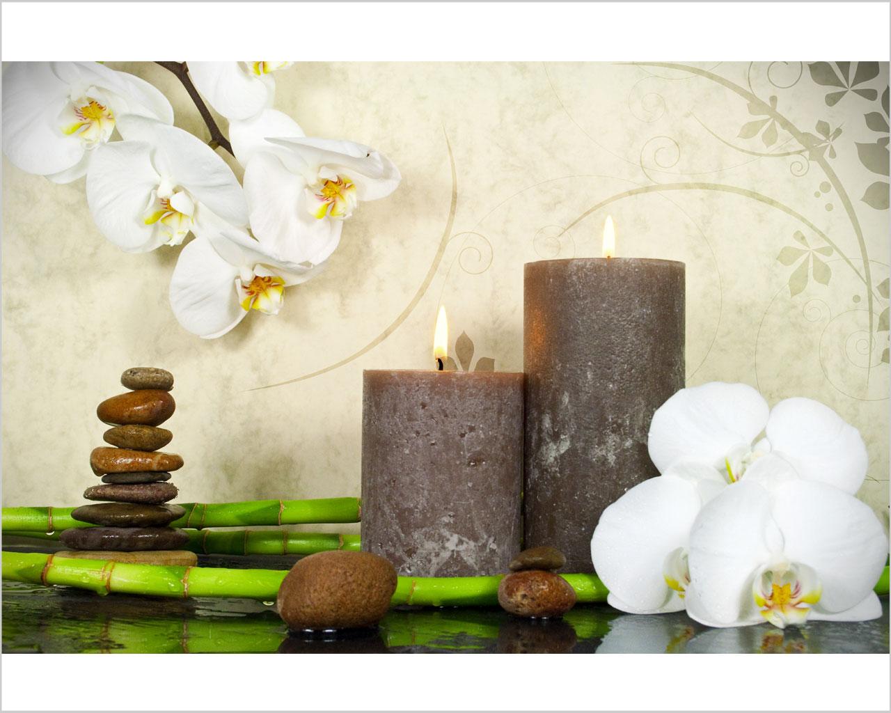 Fiori e candele benessere stampa su tela interni for Quadri moderni orchidee