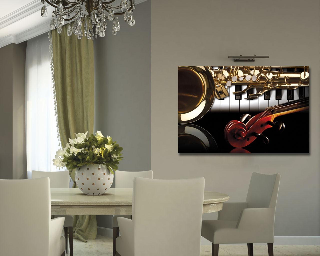 Strumenti musicali vintage retr stampa su tela - Quadri per sala da pranzo ...