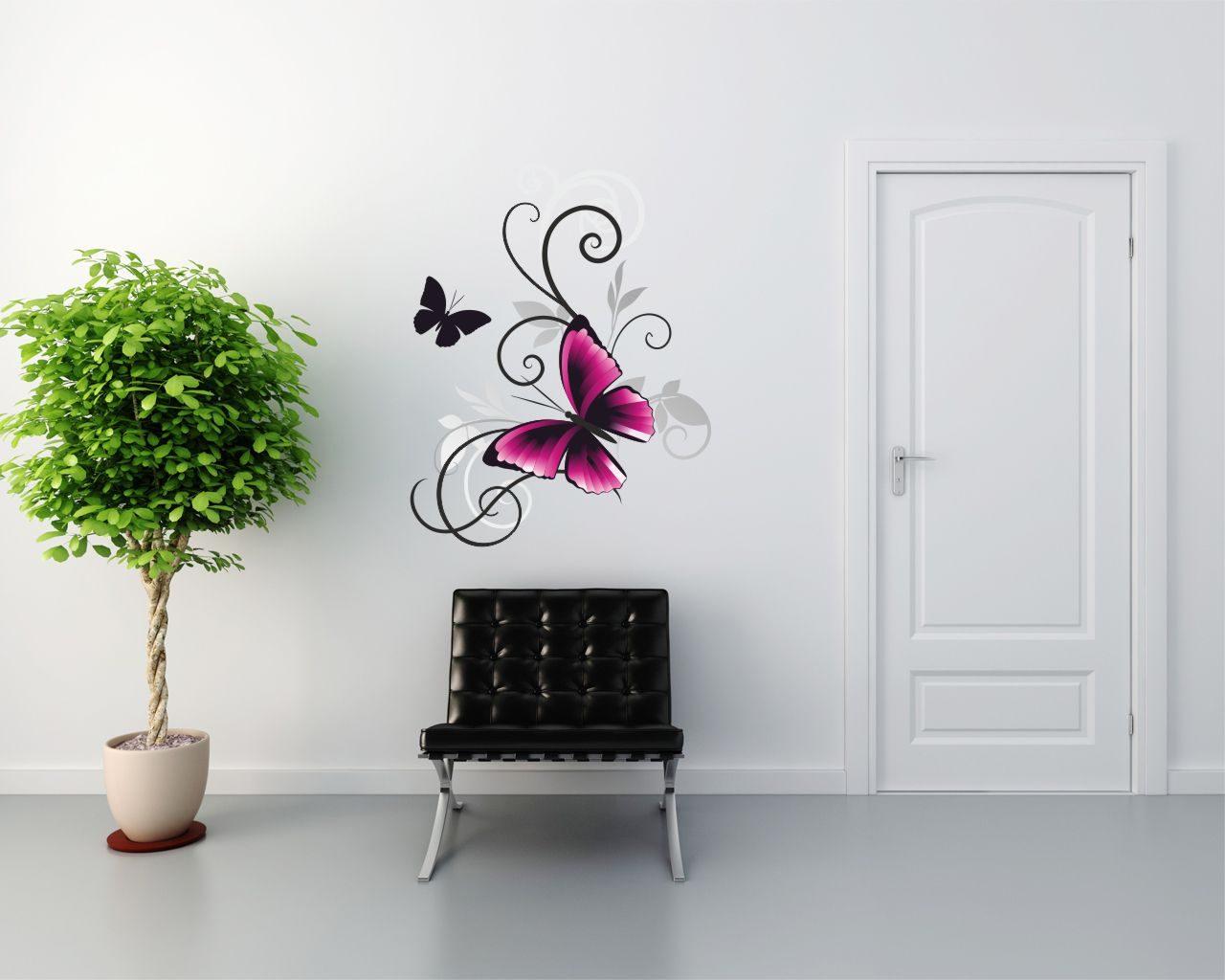 Beautiful pink fly animali adesivo murale - Fly decoration murale ...