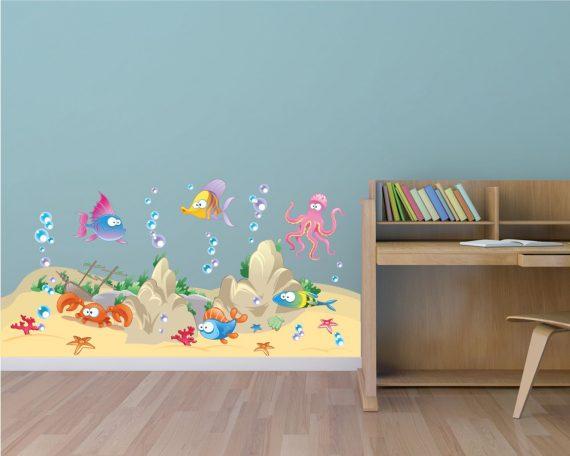In fondo al mar infanzia adesivo murale interni - Fondo rasante per piastrelle murali ...
