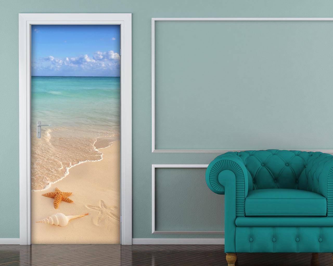 Adesivo per porta in riva al mare decorazione - Pellicole adesive per porte ...