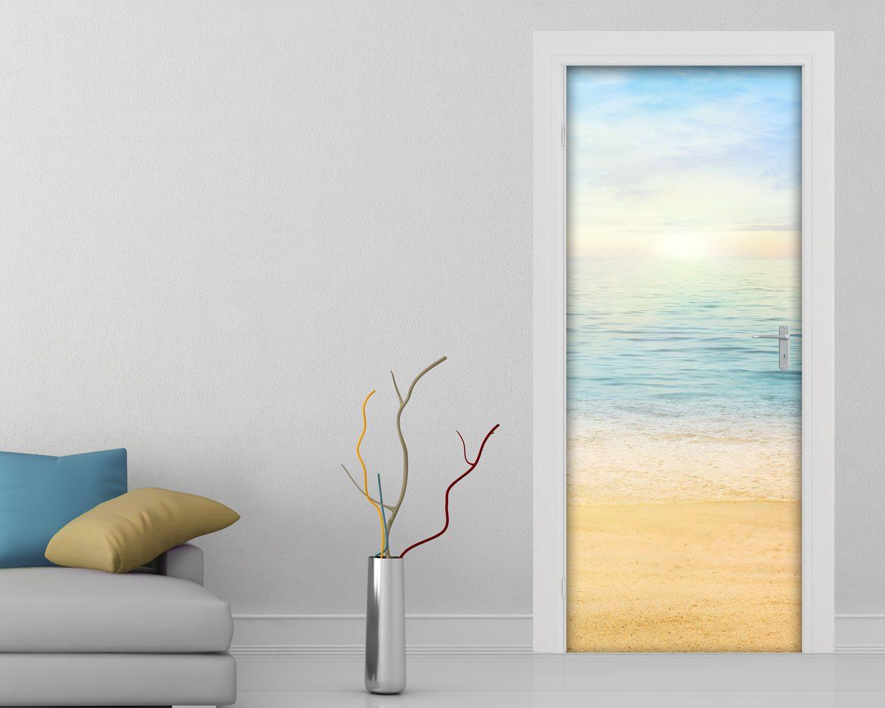 Alba sul mare natura adesivo per porte for Stickers murali 3d