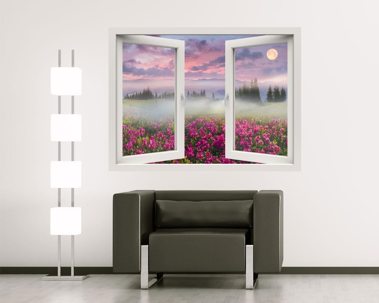 Alba sulle azalee natura finestra illusione interni decori adesivi murali wall - Quadri con finestre ...