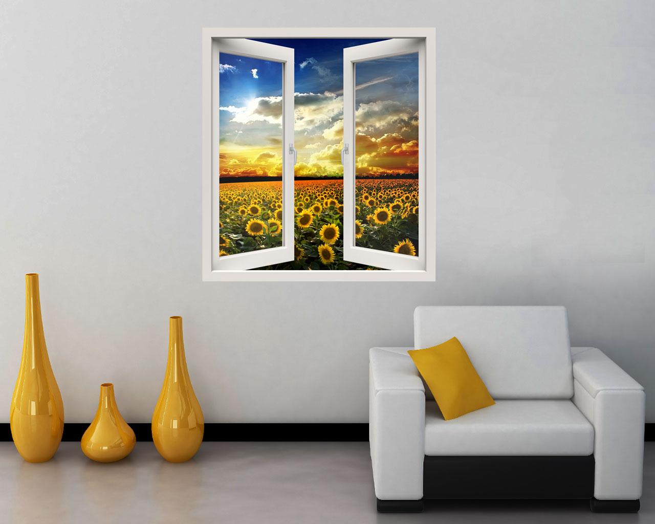 Affacciarsi sui girasoli natura finestra illusione interni decori adesivi murali - Quadri con finestre ...