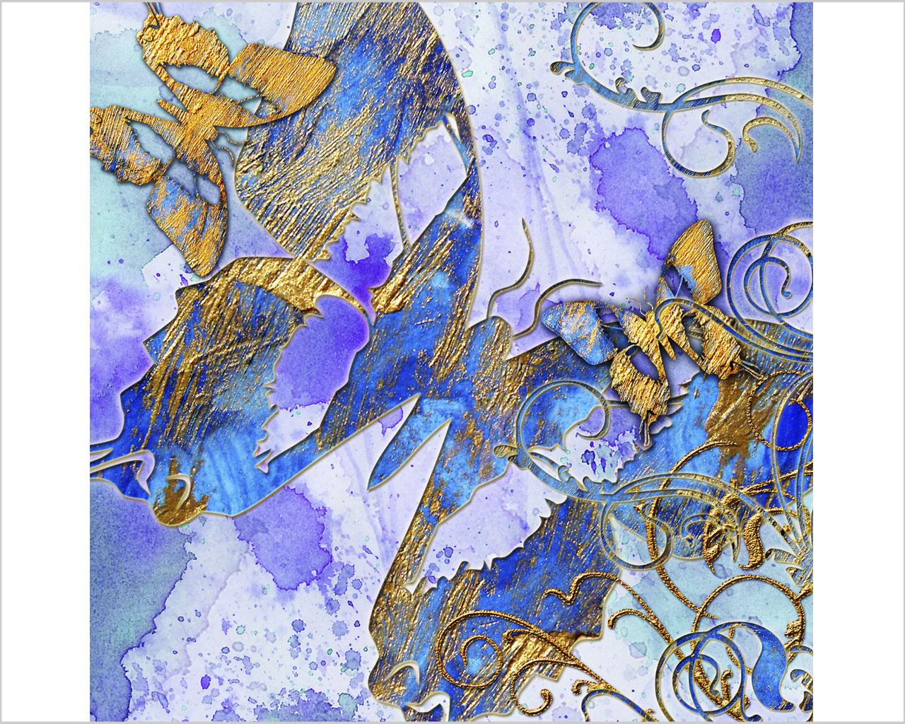 Stampa su tela - farfalle oro