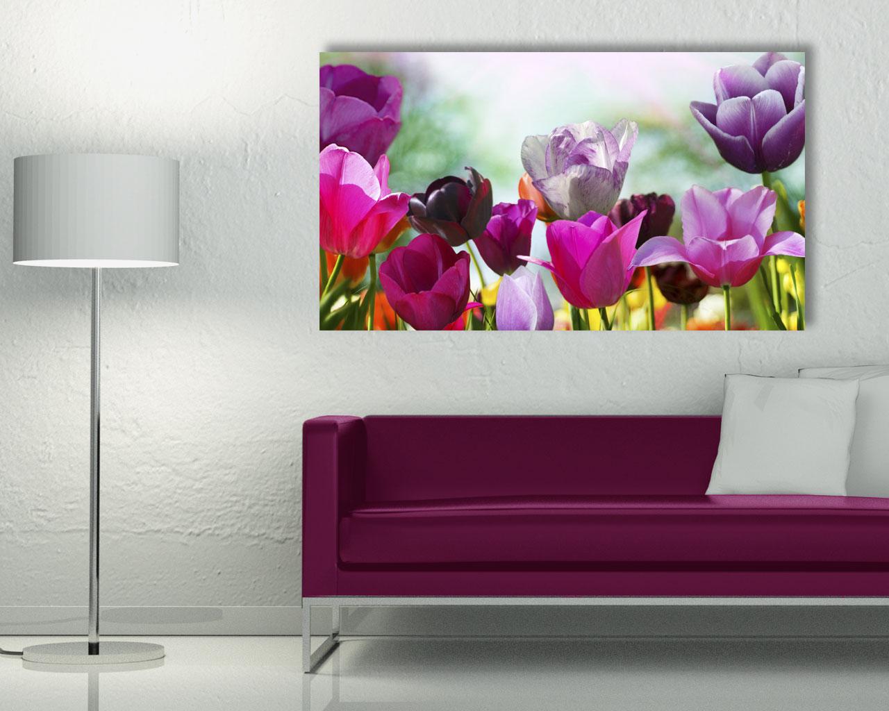 Variopinti tulipani fiori stampa su tela interni - Ikea stampe e quadri ...