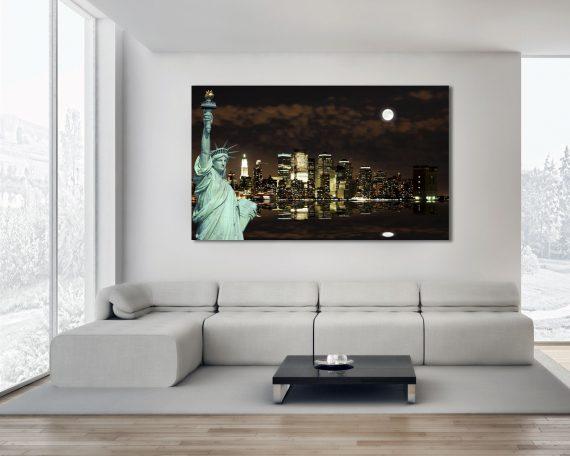 Stampa su tela -new york al chiaro di luna
