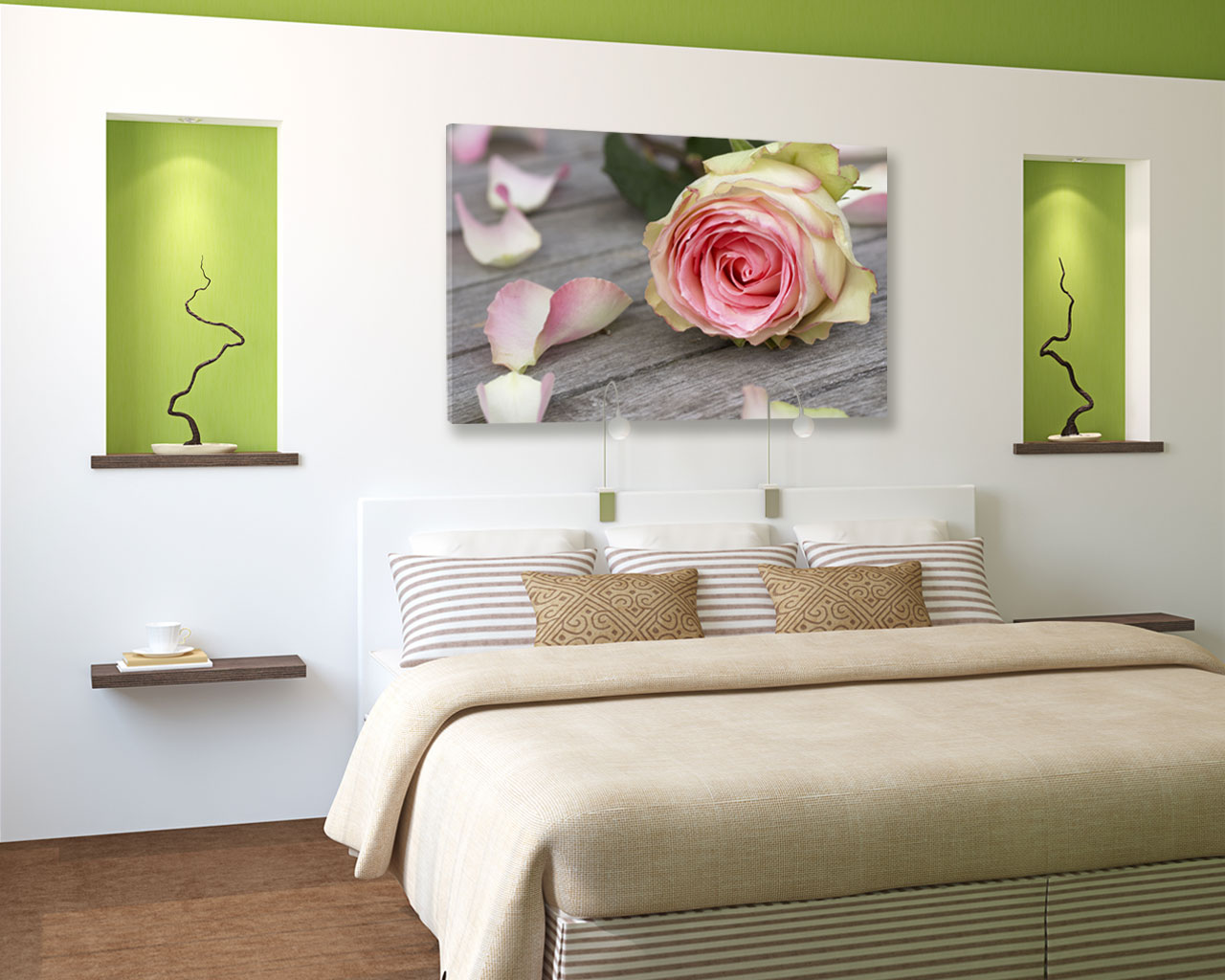 Rosa con petali sparsi fiori stampa su tela interni decori adesivi murali wall - Ikea quadri su tela ...