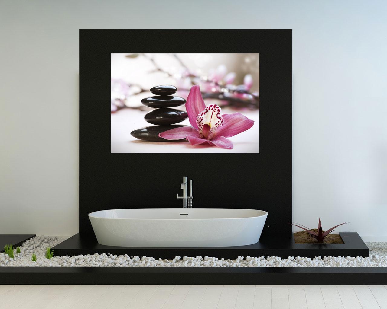 Pietre e lilium benessere stampa su tela interni for Quadri moderni orchidee
