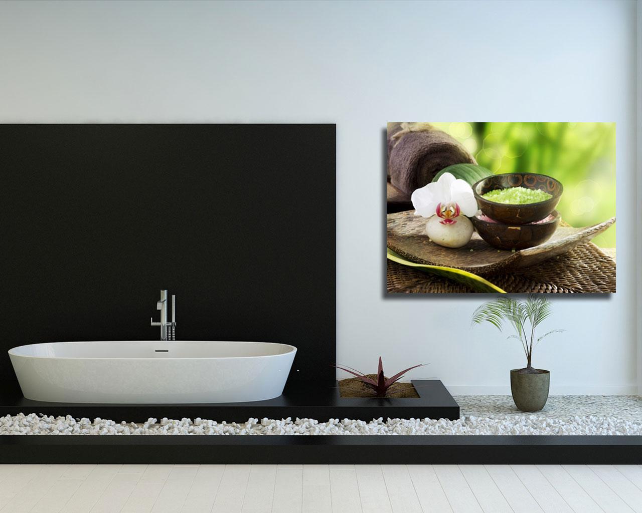 Stampa su tela - sali da bagno e orchidea