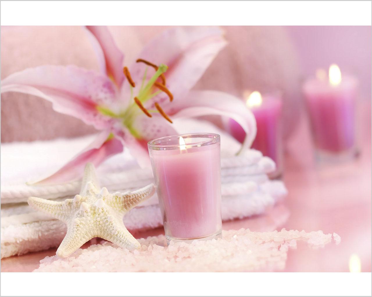 Candele rosa con lilium benessere stampa su tela - Candele per bagno ...