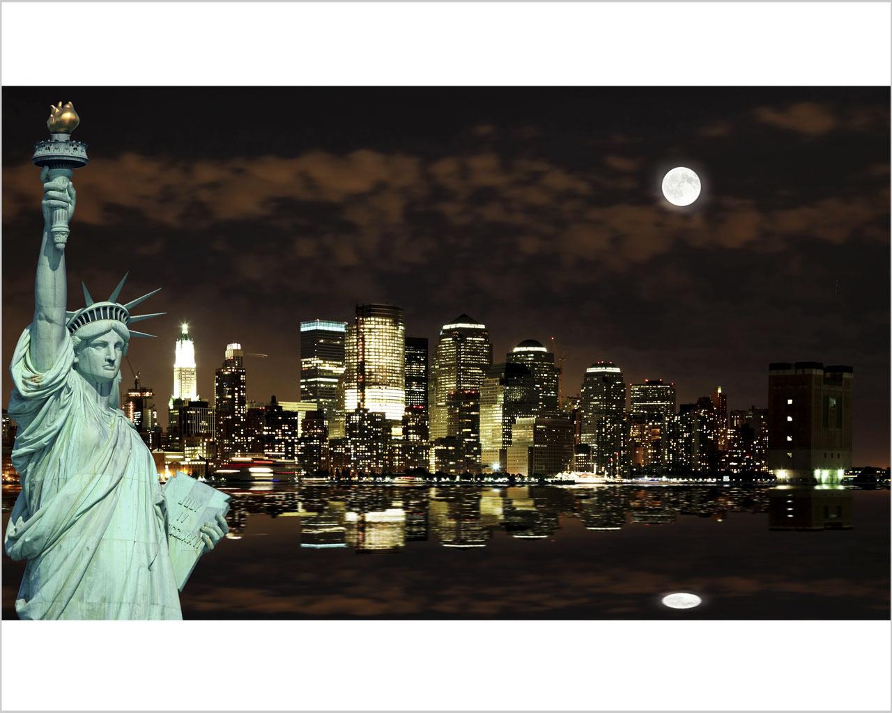 New york al chiaro di luna citt stampa su tela for Soggiorno new york