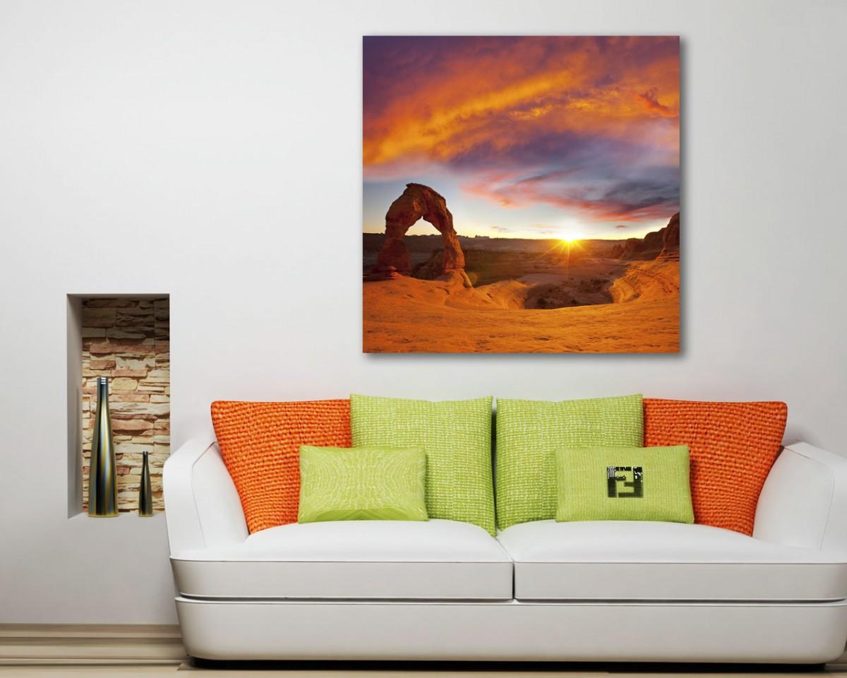 stampa su tela-tramonto su un arco naturale