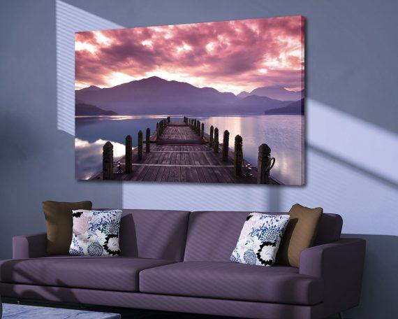 stampa su tela-pontile sul lago