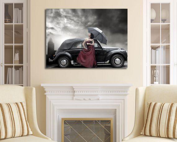 stampa su tela-auto con ragazza
