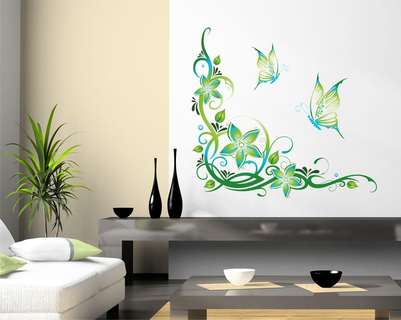Farfalle tra decori floreali animali adesivo murale interni decori adesivi murali - Decori adesivi per pareti ...