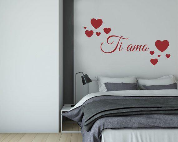 adesivo murale-ti amo tra cuori