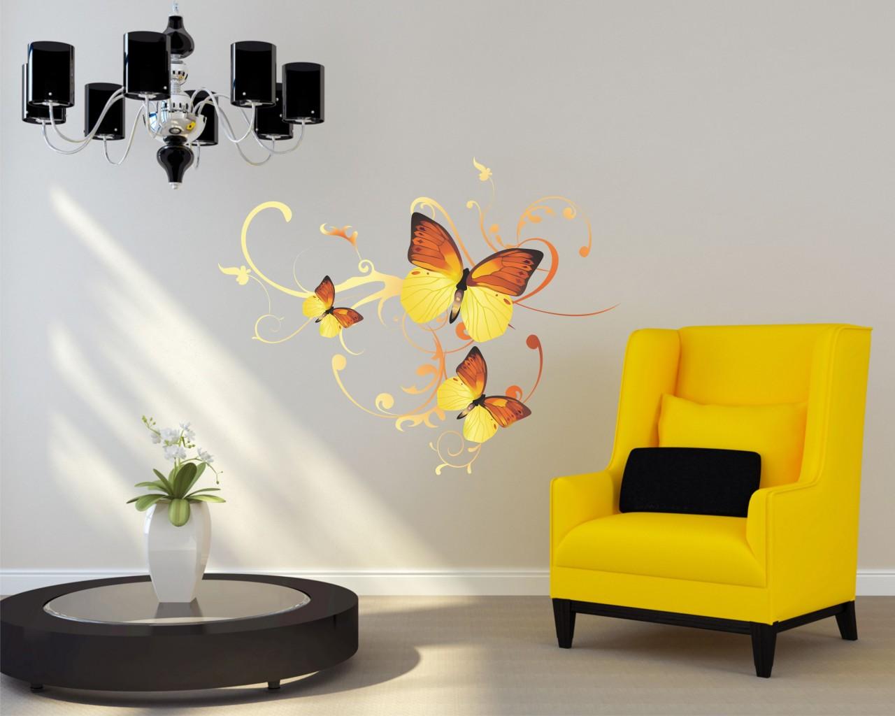 adesivo murale-farfalle tra decori 2