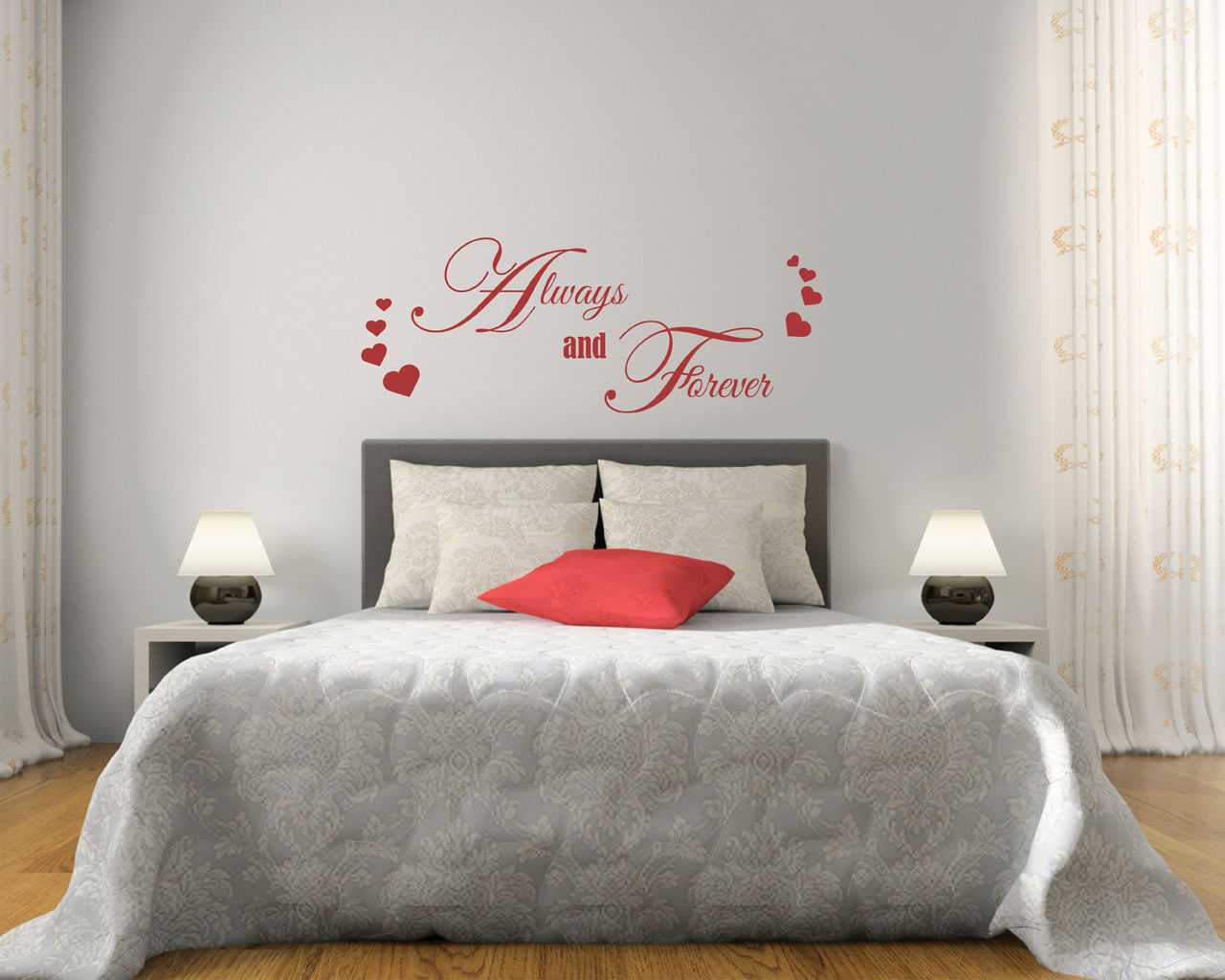 Always and forever amore adesivo murale interni - Stickers per camera da letto ...