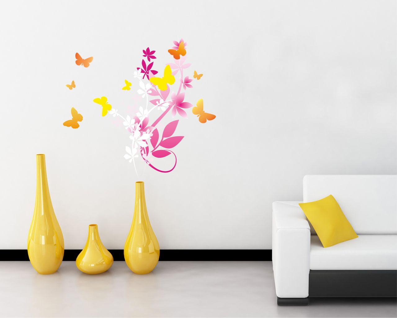 Farfalle Tra I Fiori Animali Adesivo Murale Interni Decori