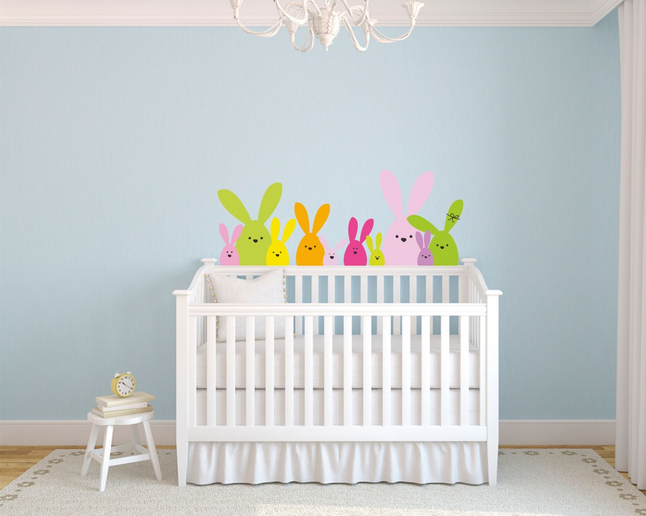 adesivo murale-coniglietti curiosi