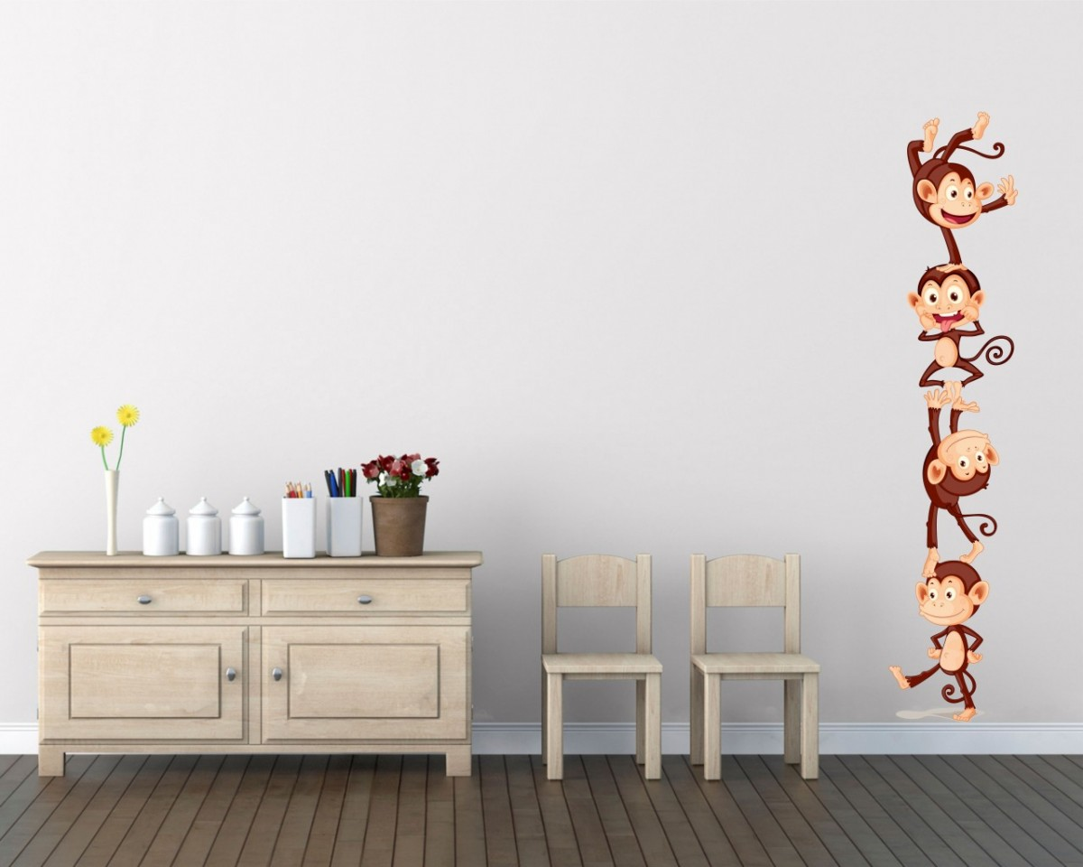 adesivo murale-buffe scimmiette
