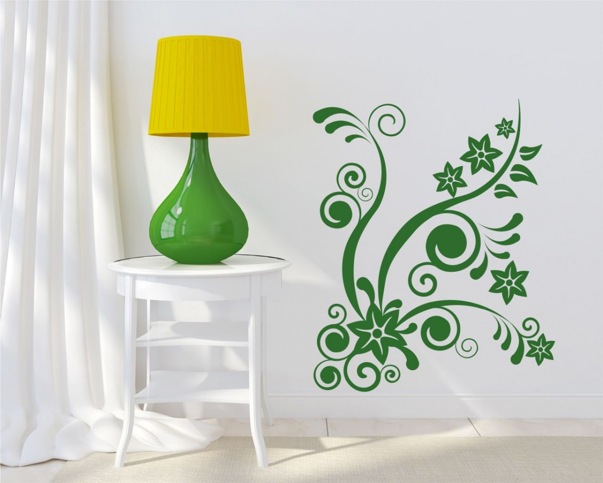 adesivo murale-delicate onde floreali