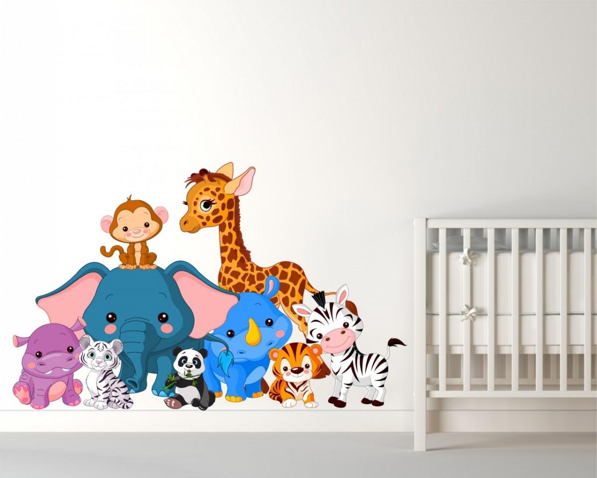 adesivo murale-animali della giungla