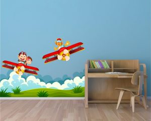 adesivo murale-simpatici aerei in volo