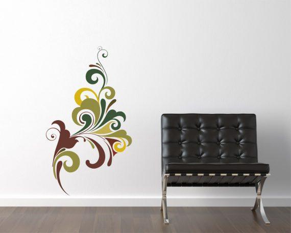 adesivo murale-colorato vortice floreale