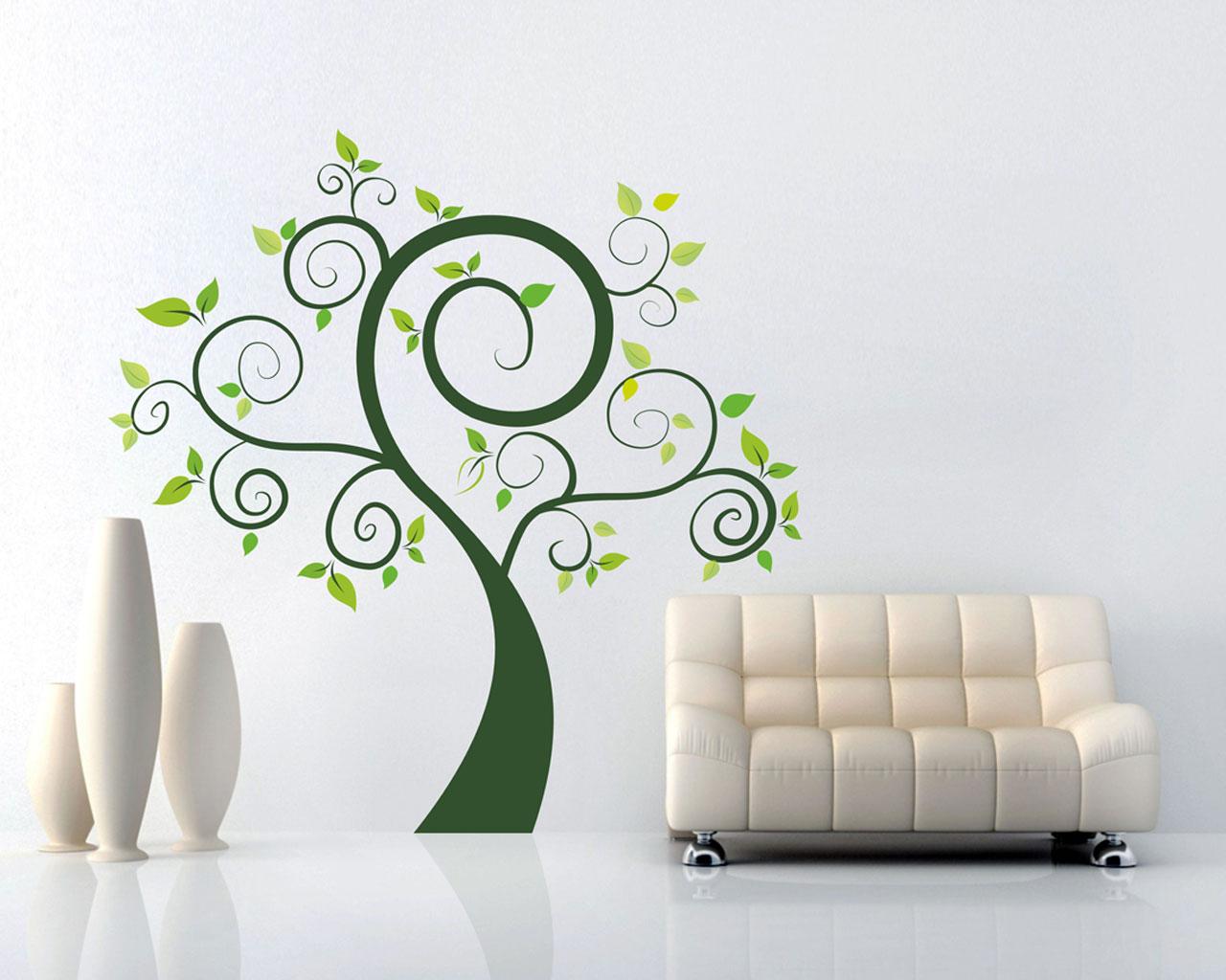 Albero verde natura adesivo murale interni decori - Adesivi parete ikea ...