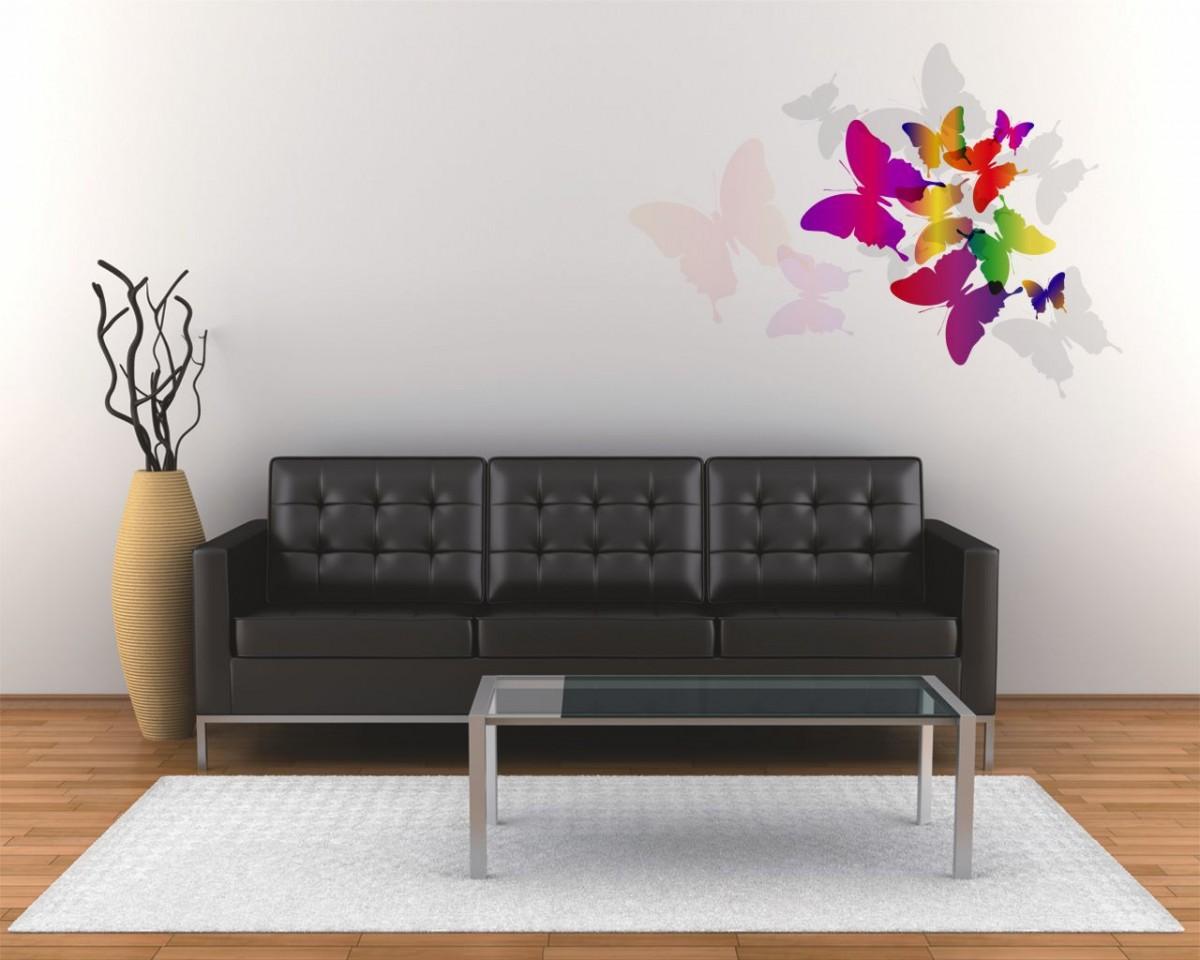 adesivo murale-arcobaleno di farfalle