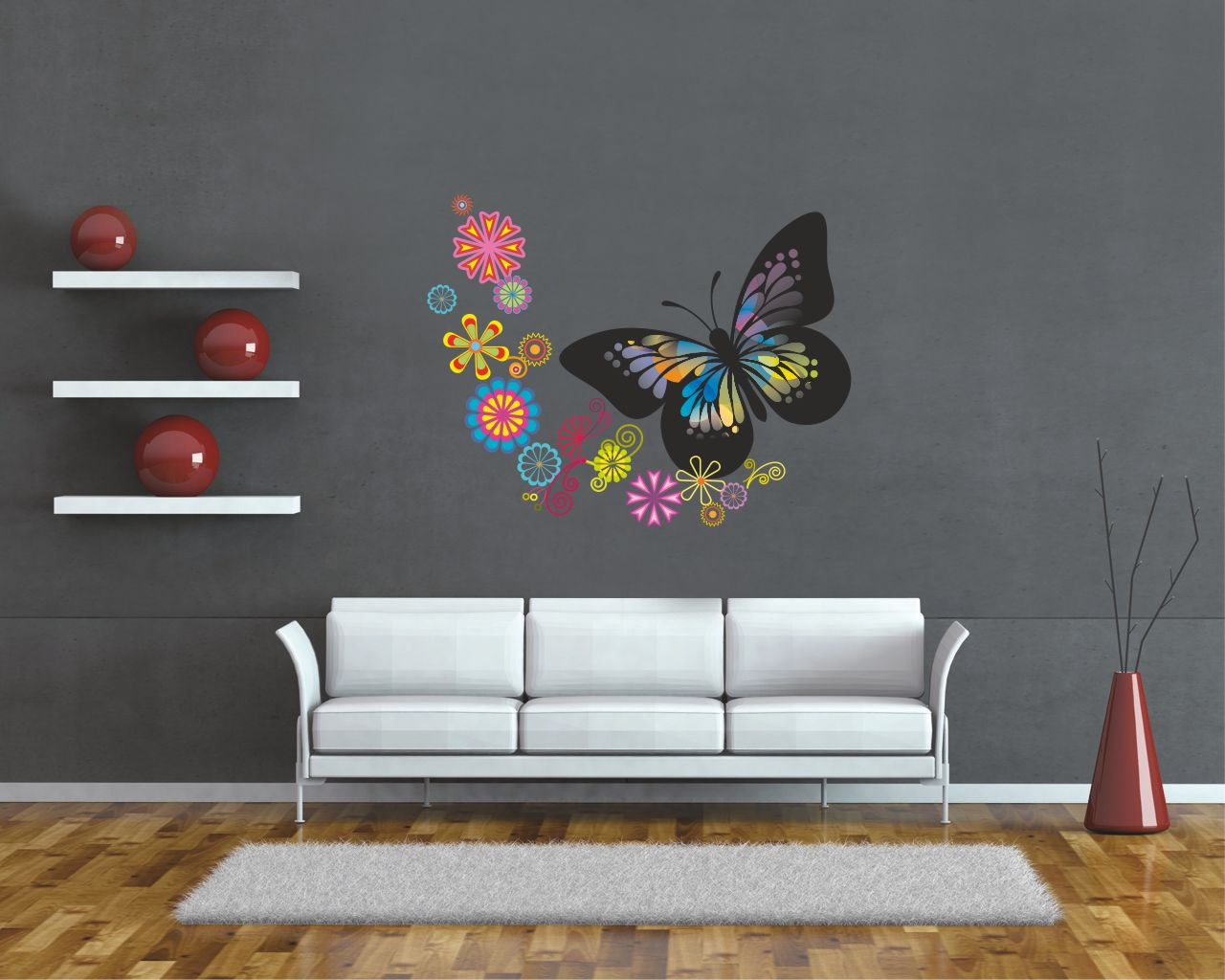 Adesivo murale-disegni con farfalla