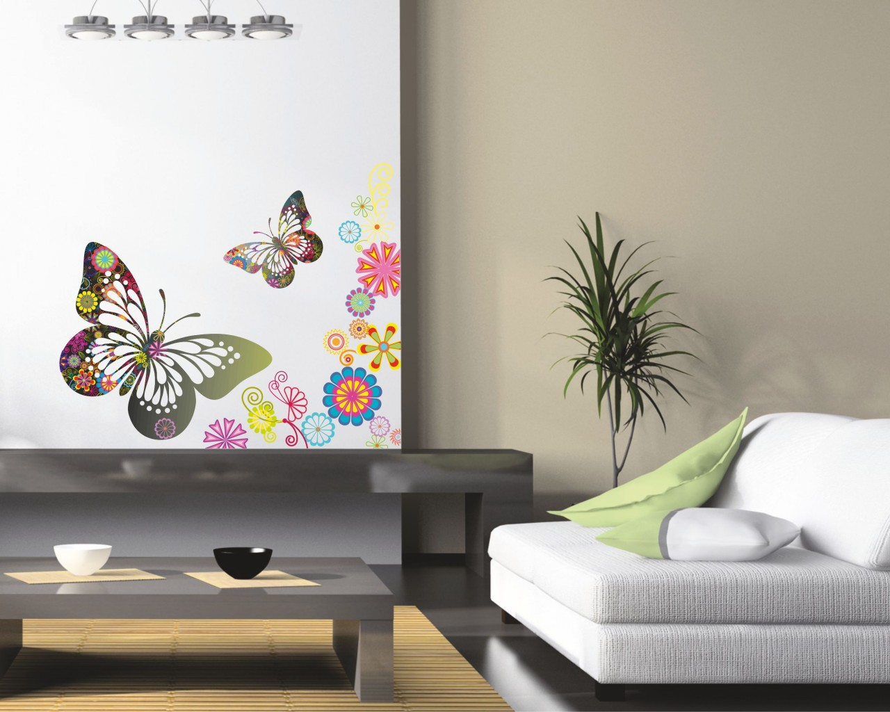 adesivo murale-fantasie con farfalle