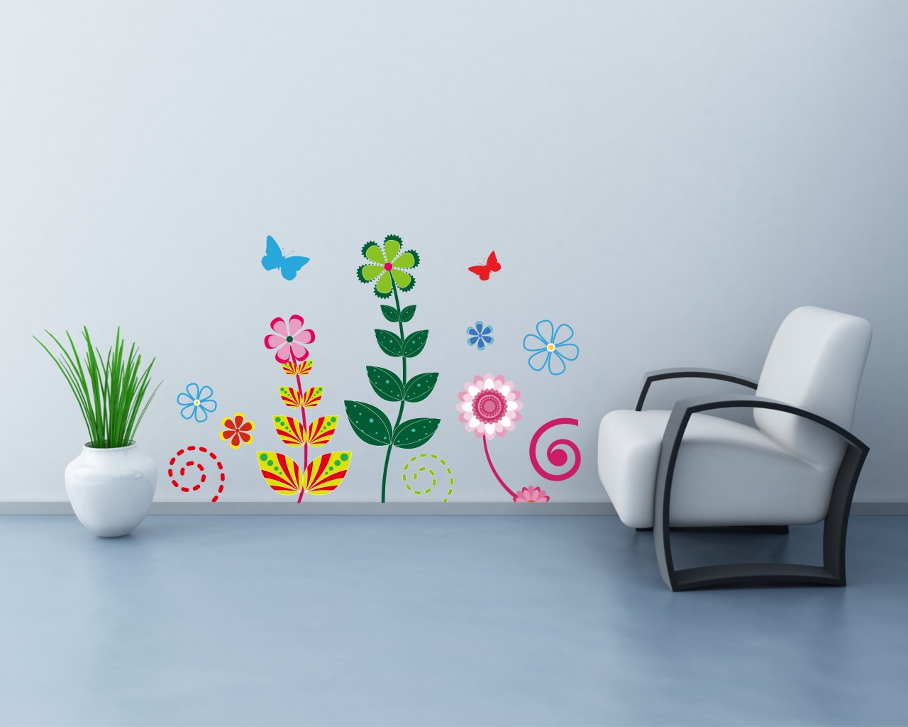 adesivo murale-fiori variopinti