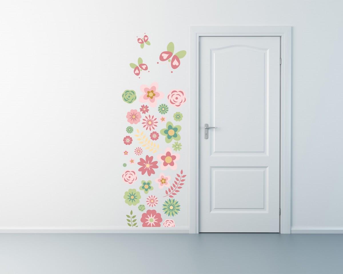 adesivo murale-decoro fiori e farfalle