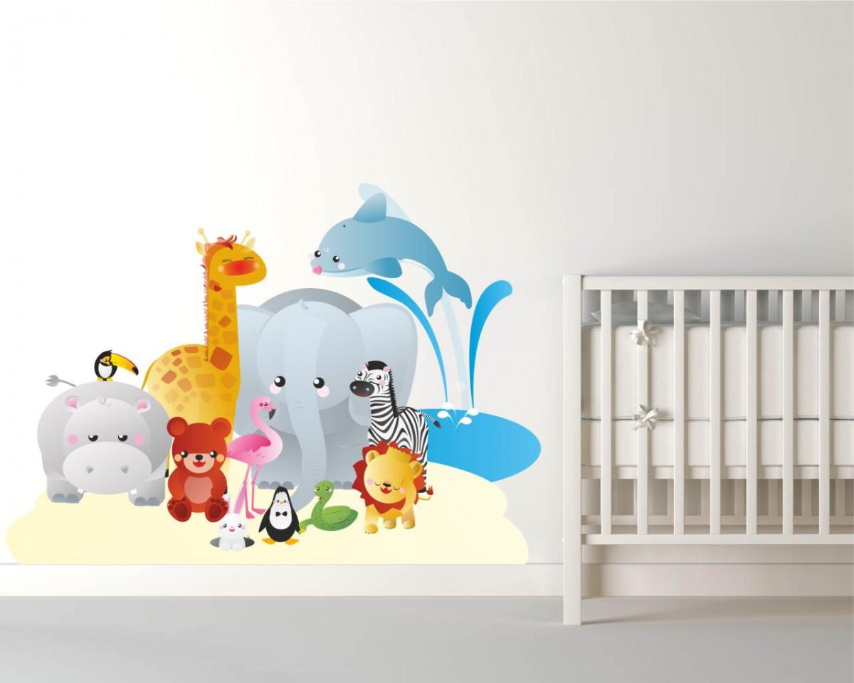 adesivo murale-animali nello zoo