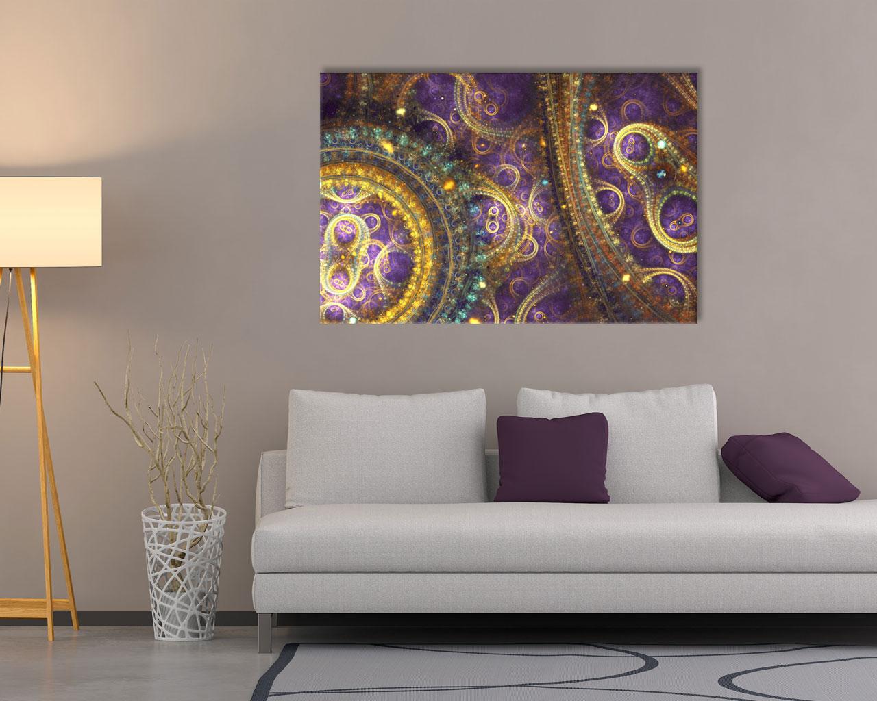 Stampa su tela-astratto viola e oro