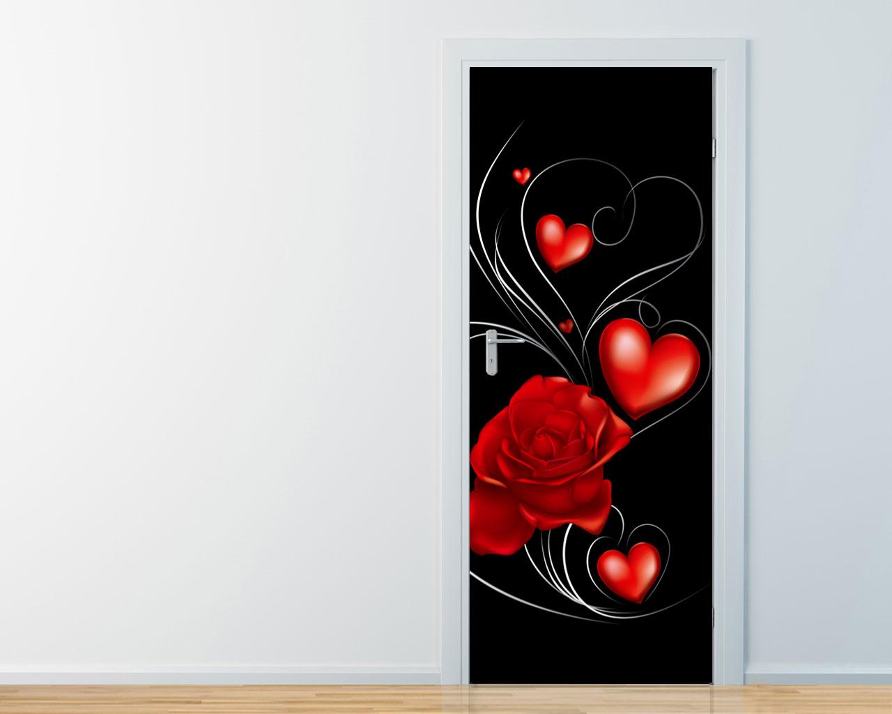 Adesivo per porte-una rosa tra cuori