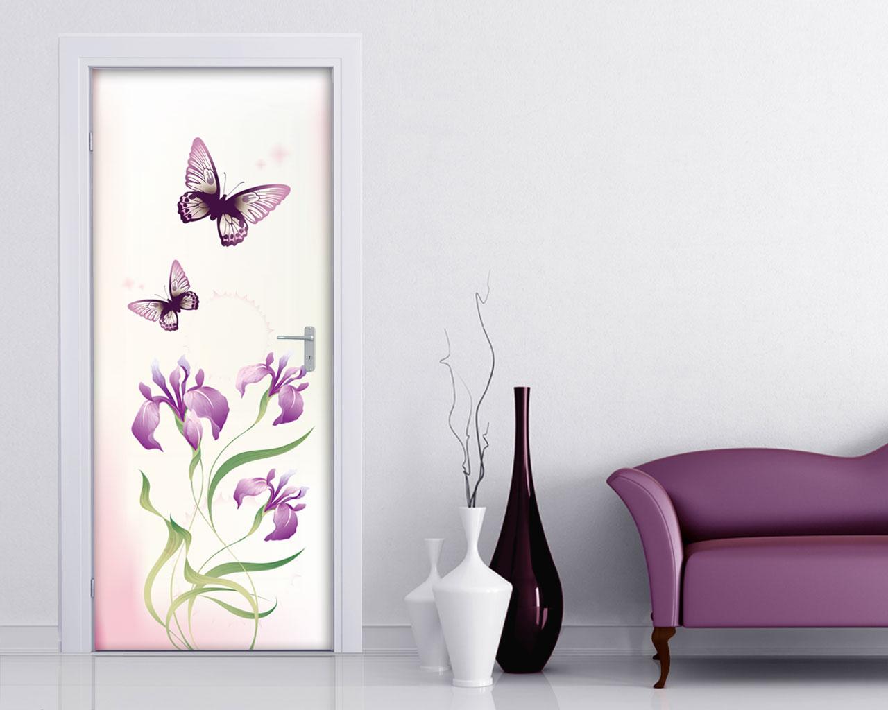Fiori rosa e farfalle fiori adesivo per porte - Stickers porte interne ...