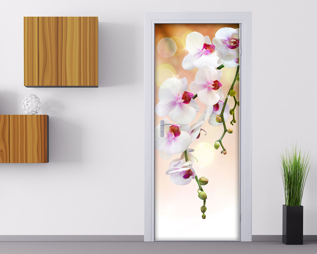 Adesivo per porta orchidea bianca decorazione for Decorazioni su porte interne