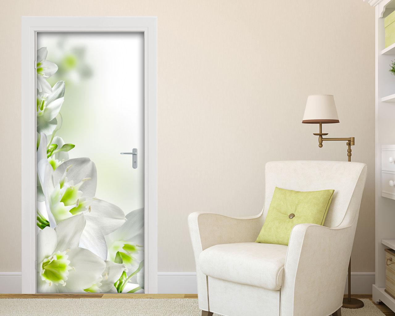 Adesivo per porte-sfondo floreale