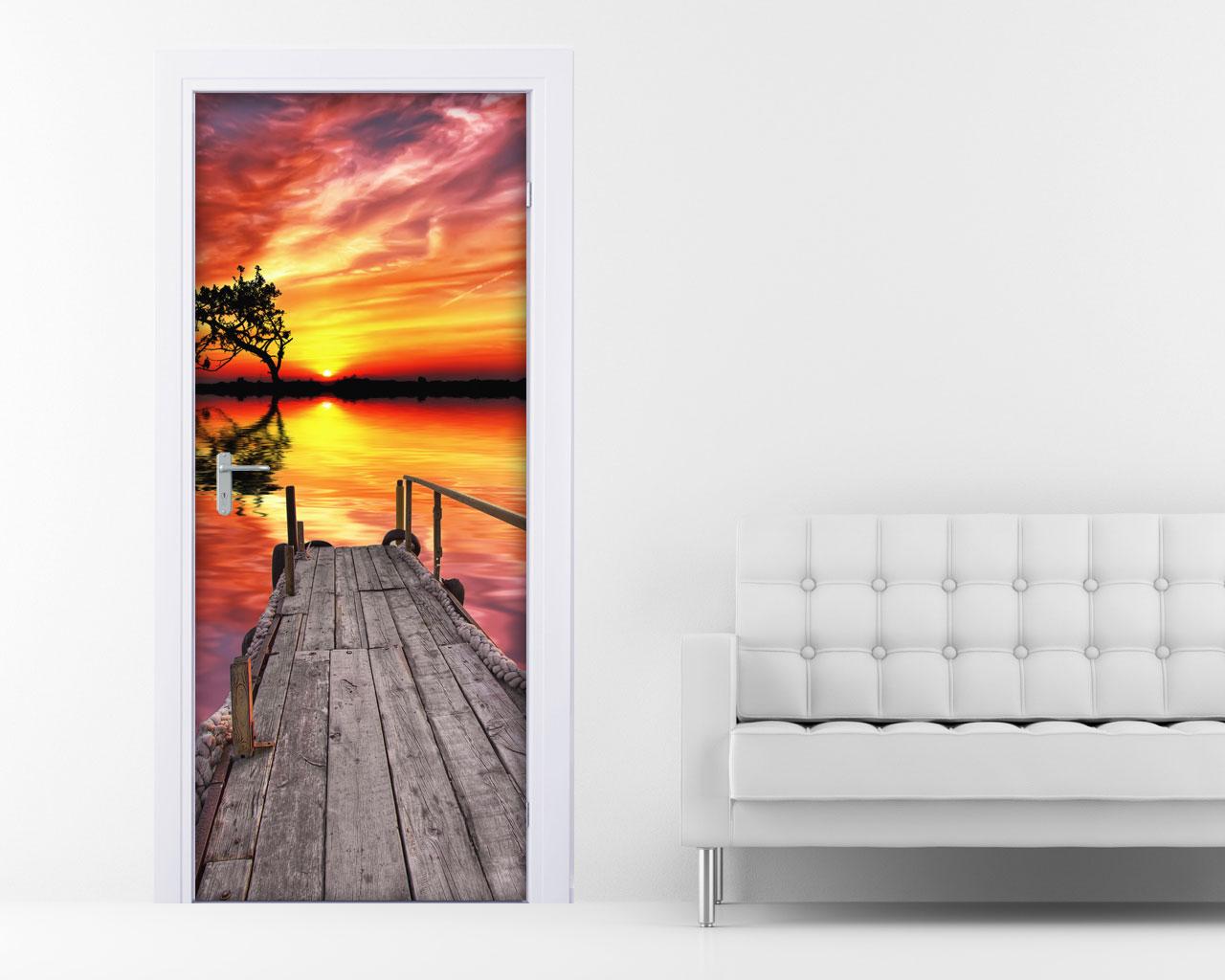 Adesivo per porte-tramonto sul lago