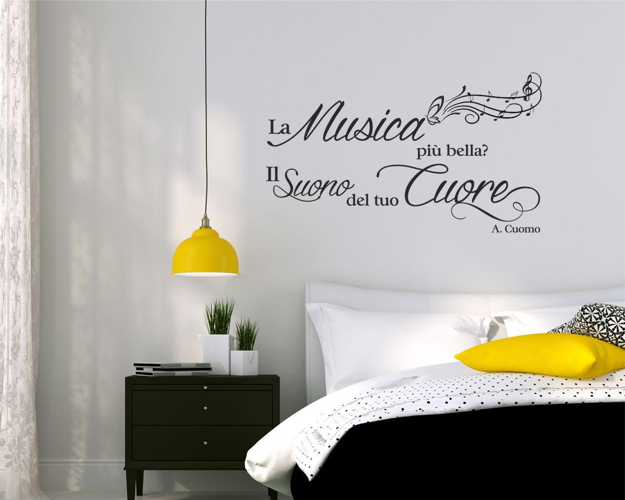 Adesivo frase musica la musica pi bella il suono del - Decori camera da letto ...