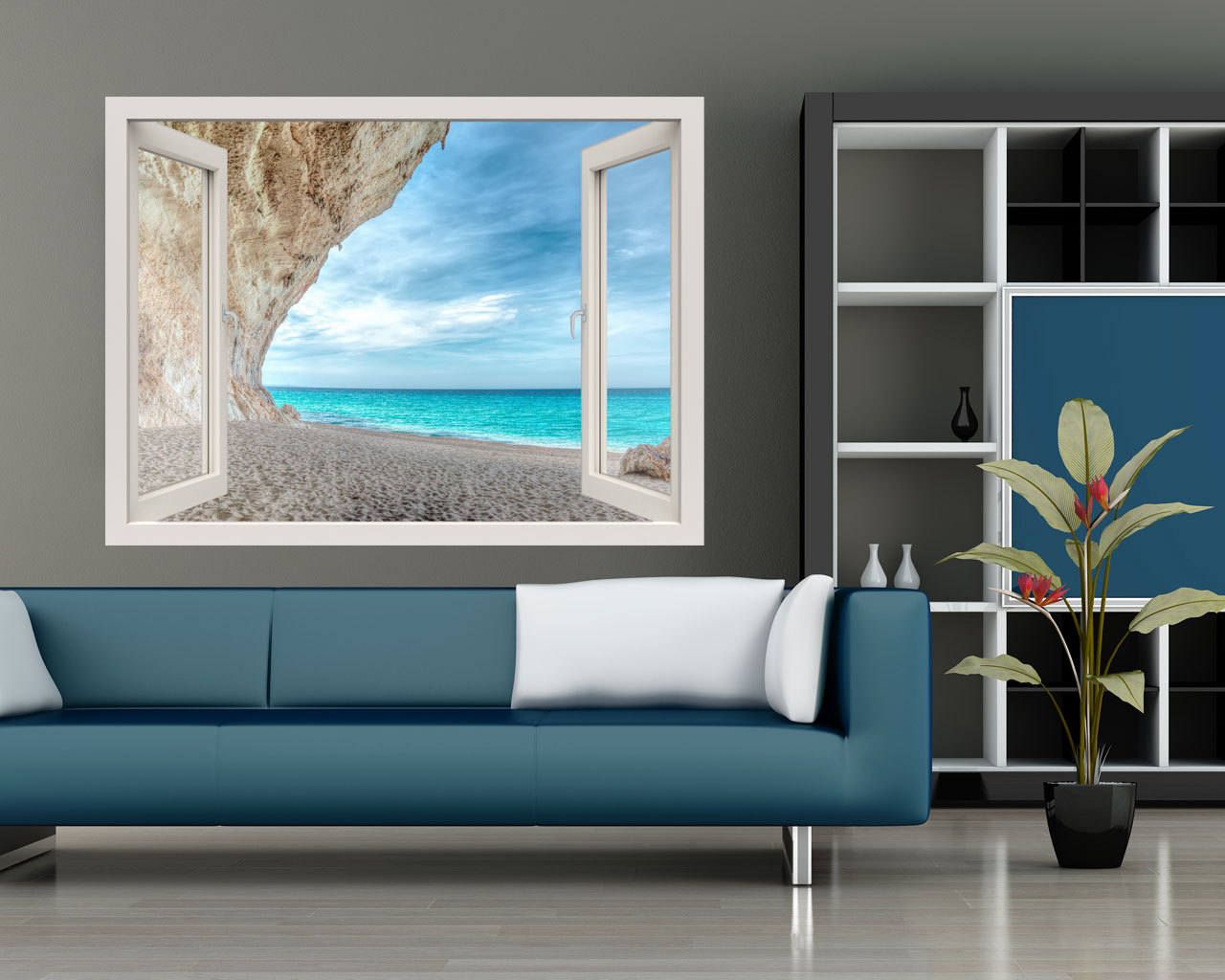 Scorcio sul mare natura finestra illusione interni decori adesivi murali wall - Adesivi natalizi per finestre ...