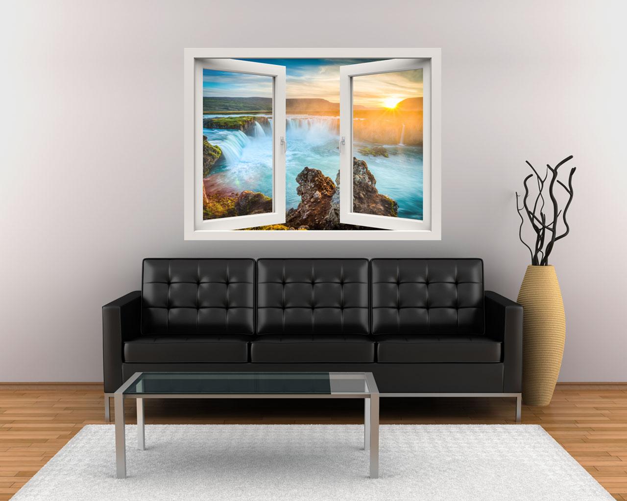 Finestra adesiva-raggi di sole sulle cascate