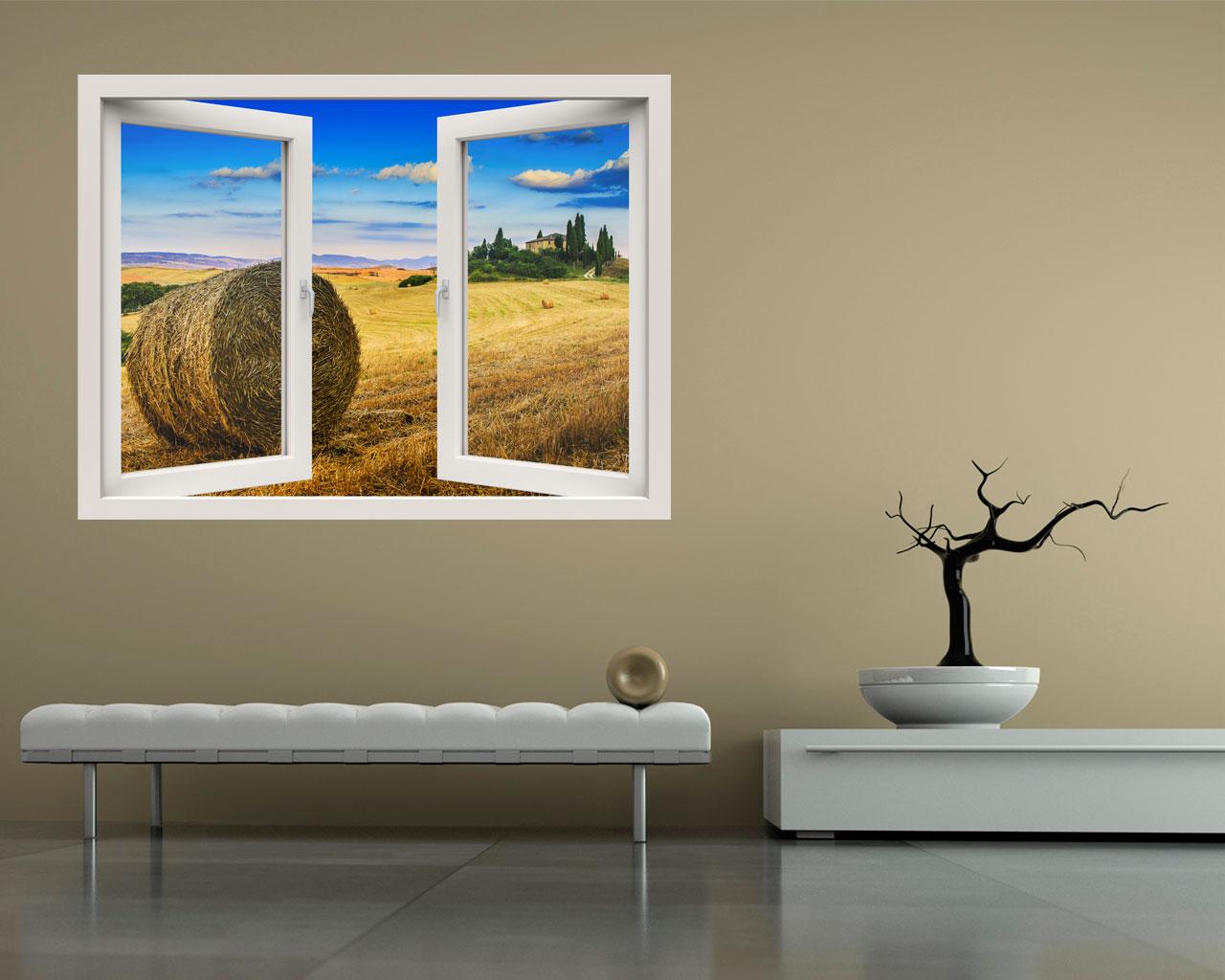 Paesaggio toscano natura finestra illusione interni - Adesivo murale finestra ...