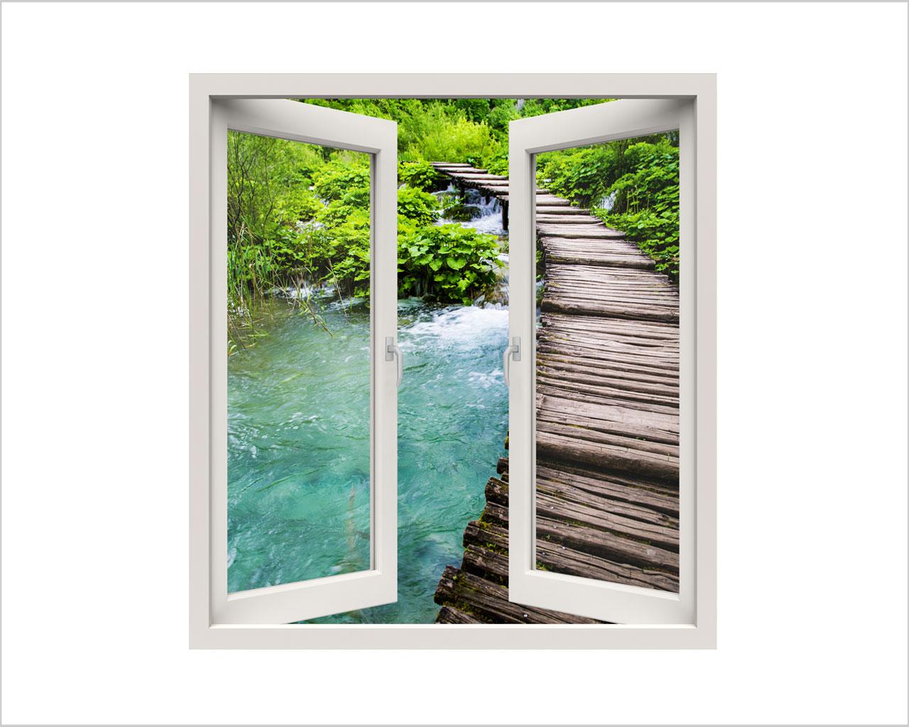 Scorcio sul torrente natura finestra illusione interni decori adesivi murali wall - Adesivi natalizi per finestre ...